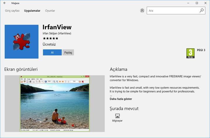 Efsane resim görüntüleyici IrfanView artık Windows Mağazası'nda
