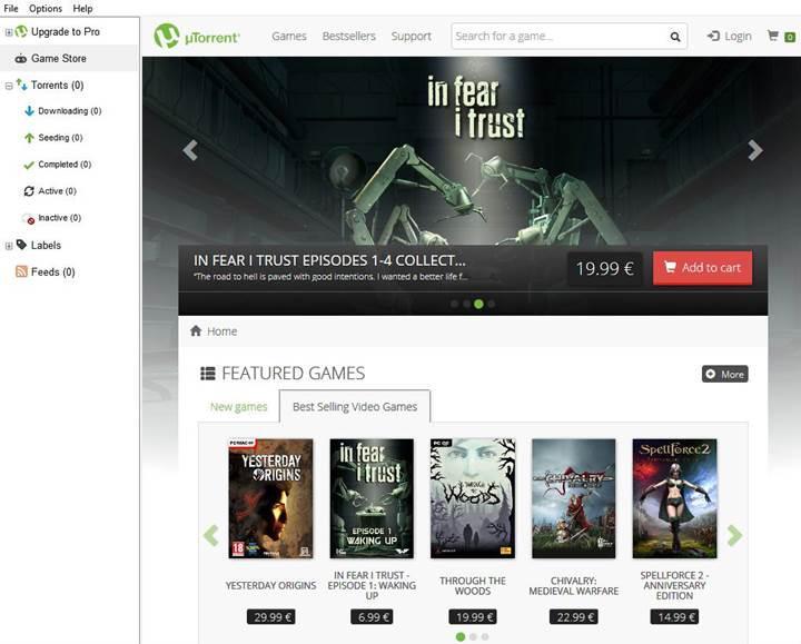 uTorrent'e oyun mağazası eklendi
