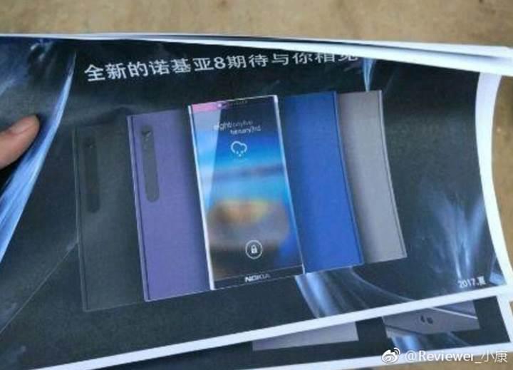 Çerçevesiz amiral gemisi Nokia 8'in posteri göründü
