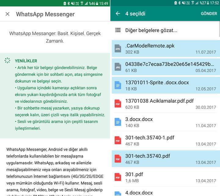 Artık WhatsApp'ta her türden dosya gönderilebiliyor
