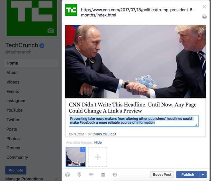 Facebook link görünümlerini düzenleme yetkisini kaldırıyor