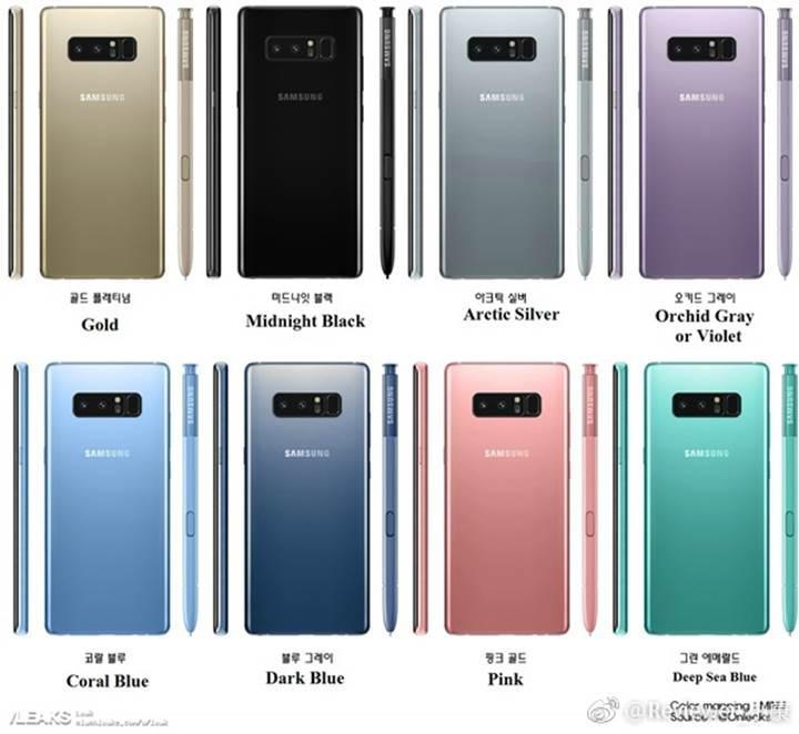 Samsung Galaxy Note 8 için tüm renk seçenekleri burada
