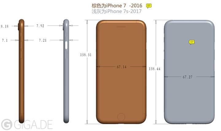 iPhone 7s mevcut iPhone 7'den daha büyük ve kalın olacak