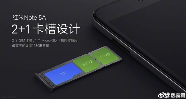 Xiaomi Redmi Note 5A'nın SIM tepsisinde 3 yuva olacak