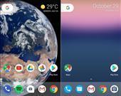 Android O solda, Android N sağda.  İki görünüm arasında çok ufak farklılıklar var. Bu görselde yok ancak bir bildirim geldiği zaman uygulama simgesinin tepesine bildirim ikonu gelecek.