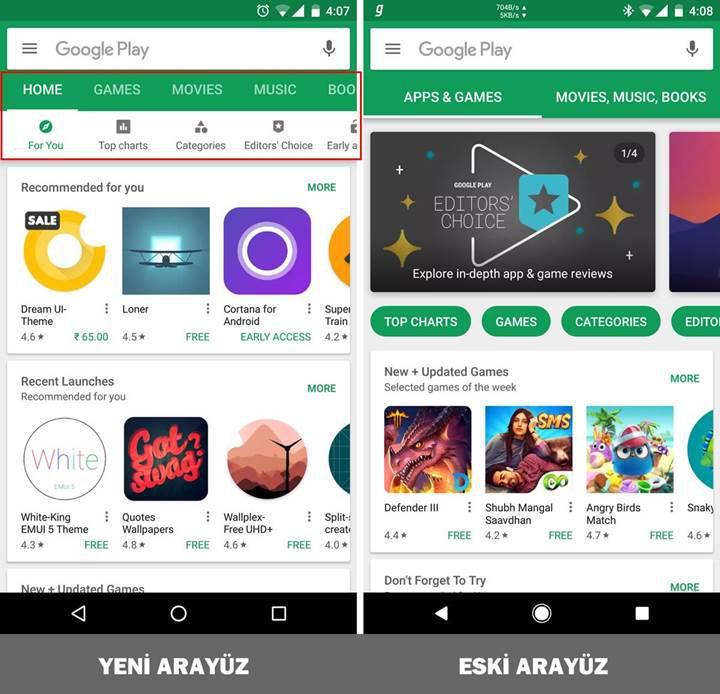 Google Play Store'un kullanıcı arayüzü güncellendi