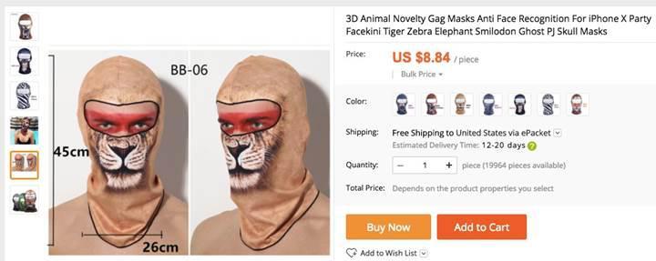 Face ID fırsata dönüştü: iPhone X için yüz maskesi satılıyor