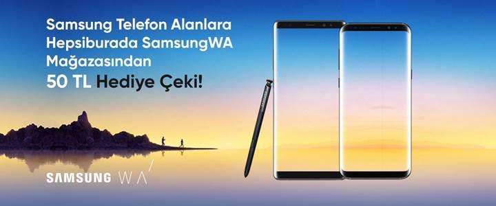 Samsung marka telefon alana 50 TL'lik hediye çeki!