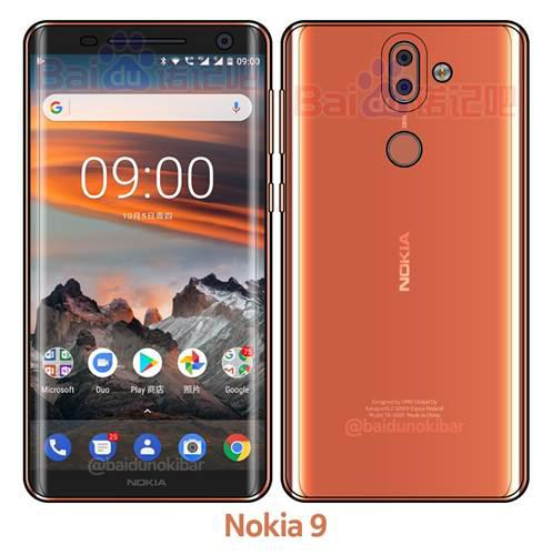 Nokia 9 göründü: Kavisli ekran, çift kamera, kablosuz şarj