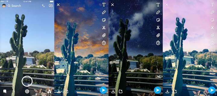Snapchat'e gökyüzü filtreleri geliyor