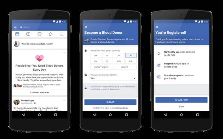 Yakın zamanda Facebook aracılığıyla kan bağışı yapılabilecek