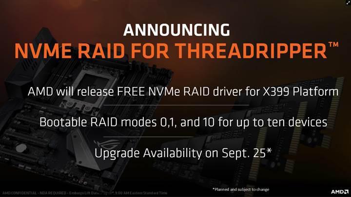X399 anakartları için ücretsiz NVMe RAID desteği geldi