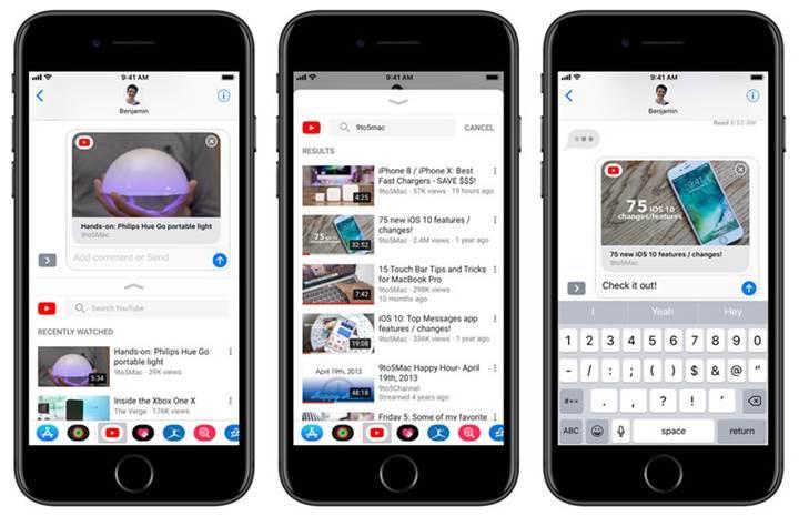 YouTube'un iOS uygulamasına iMessage desteği geldi