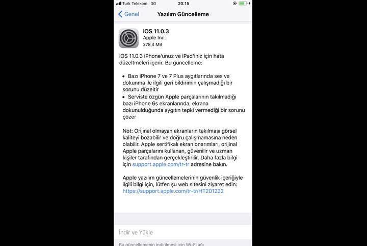 iOS 11.0.3 yayınlandı: Sahte ekranların tepkisizlik sorunu giderildi
