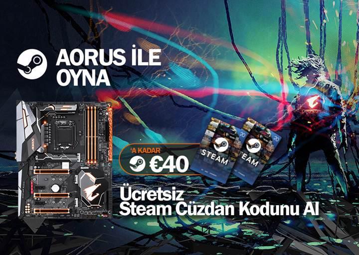 Gigabyte Aorus Z370 anakartlar ile Steam kodu hediye