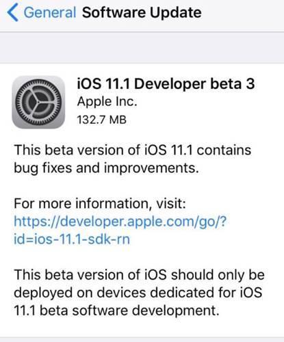 iOS 11.1 Beta 3 yayınlandı!