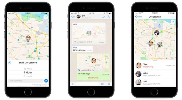 WhatsApp'a canlı konum paylaşma özelliği geliyor