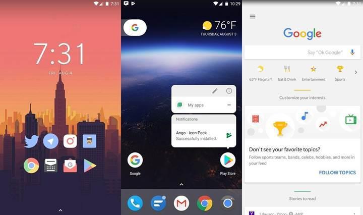 Saf Android'e en benzer arayüz Lawnchair Play Store'da