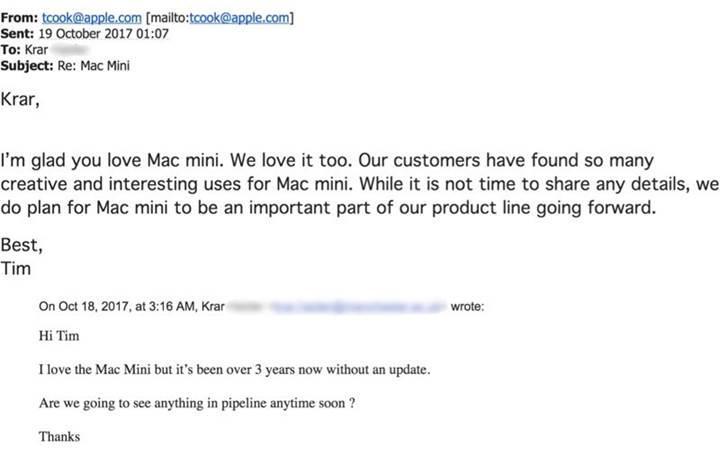 Tim Cook, Mac mini'nin geleceği hakkında konuştu