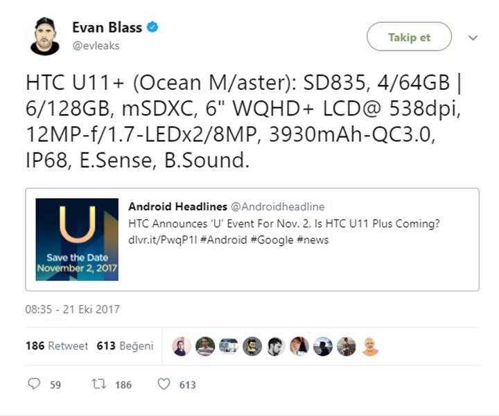 HTC U11 Plus'ın teknik özellikleri sızdırıldı