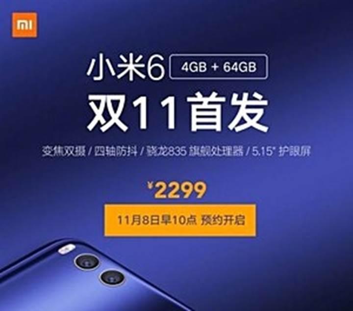 Xiaomi Mi 6 4GB RAM versiyonu satışa çıkıyor