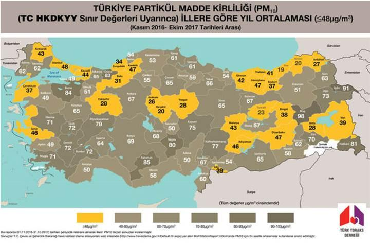 Türkiye'nin hava kirliliği haritası açıklandı: Havası temiz sadece bir il var