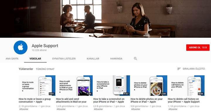 Apple, YouTube destek kanalını açtı