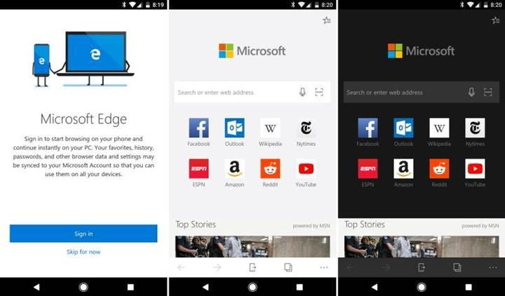 Edge'in Android sürümüne parola senkronizasyonu ve koyu tema özelliği geldi