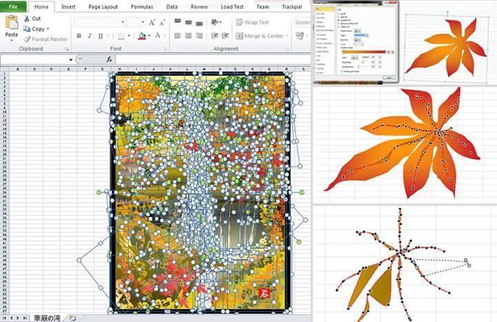 Photoshop veya Illustrator değil Excel kullanarak sanat eseri yapıyor