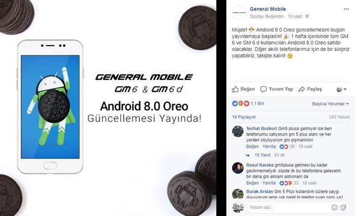 General Mobile GM 6 Android Oreo güncellemesi yayınlandı