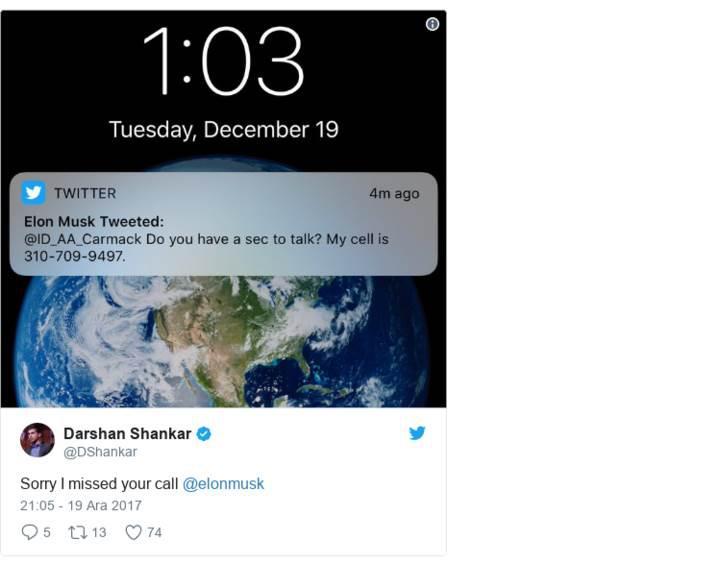 Elon Musk telefon numarasını yanlışlıkla Twitter'daki 16 milyon takipçisiyle paylaştı