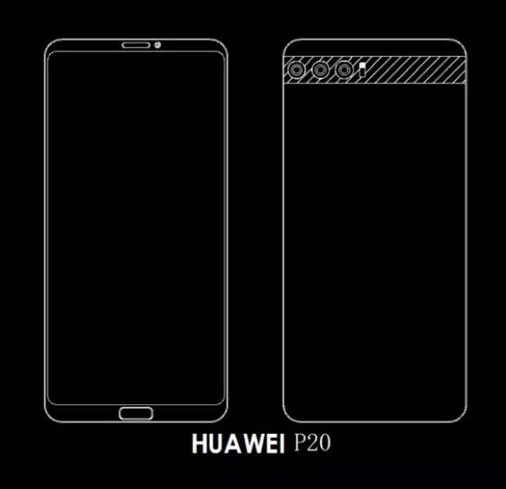 Üç arka kameraya sahip Huawei P20 serisinin şematik görüntüleri ortaya çıktı