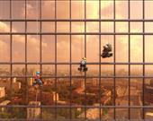 """Moskova şehrindeki """"Merkür"""" kulesi ve işçiler. Sanatçı: Alexey Goncharov"""