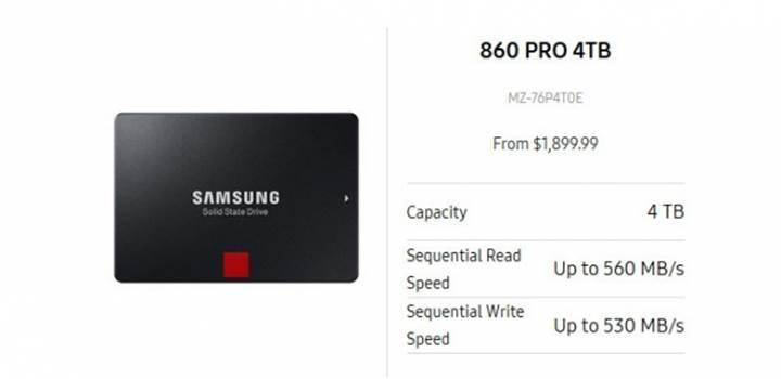 Samsung 860 SSD serisi ufukta göründü