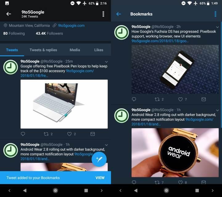 Twitter'ın Android sürümünde