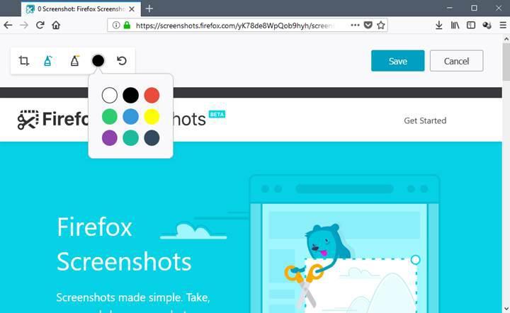 Firefox'un ekran görüntüsü yakalama özelliğine düzenleme işlevi eklendi