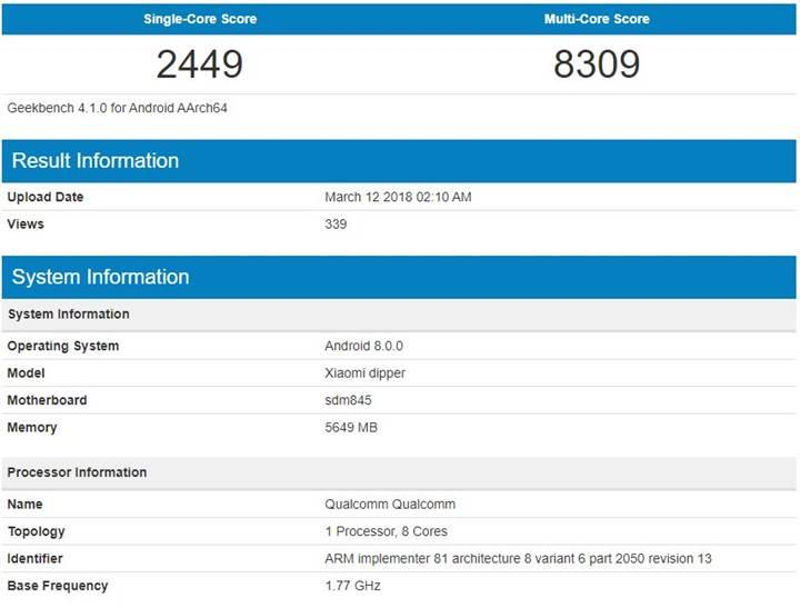 Xiaomi Mi 7, Geekbench testinde ortaya çıktı