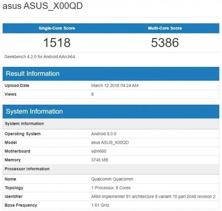 Snapdragon 660 yonga setli Asus ZenFone 5 Max göründü