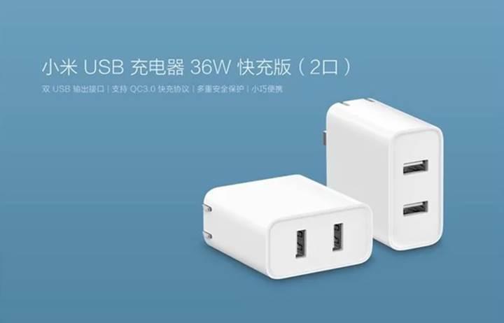 Xiaomi'den 36 Wattlık hızlı şarj adaptörü