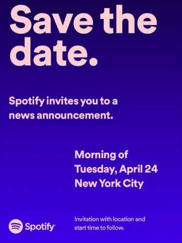 Spotify 24 Nisan tarihinde bir etkinlik düzenliyor