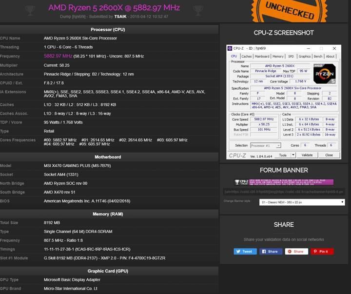 Ryzen 5 2600X ve Ryzen 7 2700X işlemcileri 5.8GHz hızına aşırtıldı