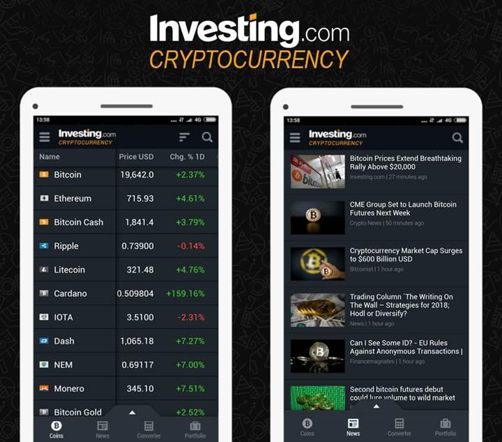 Kripto para yatırımcılarının yeni uygulaması Investing.com güncelleme aldı