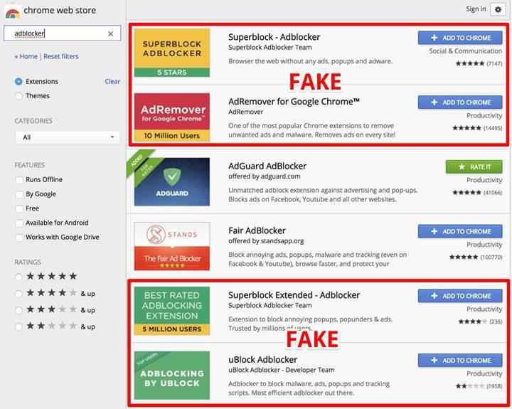 Sahte reklam engelleme eklentileri Chrome Web Mağazası'ndan kaldırıldı