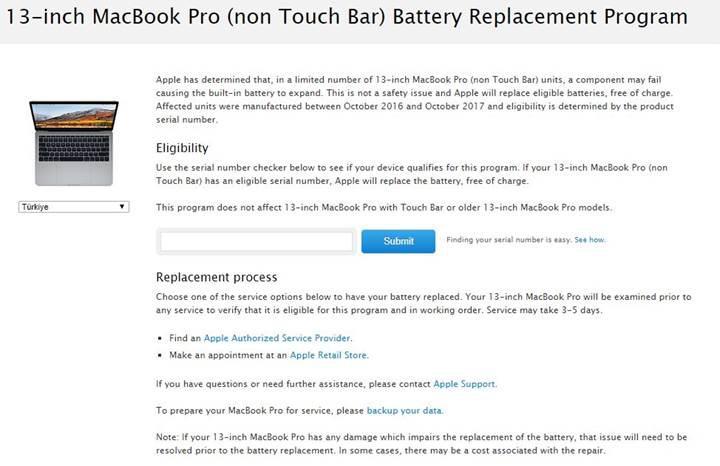 Apple, MacBook Pro için ücretsiz batarya değişim programı başlattı
