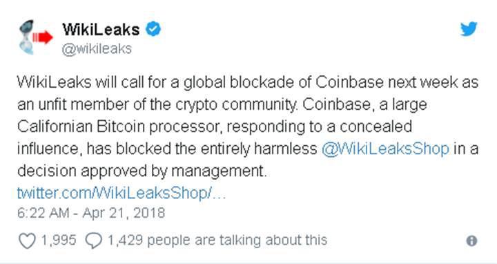 Wikileaks Shop'ın kripto hesapları bloke edildi
