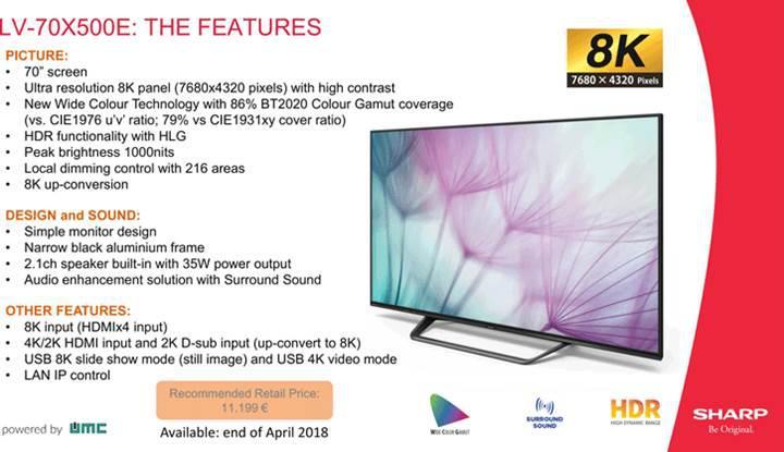 Sharp ilk 70 inçlik 8K televizyonunu satışa sunuyor