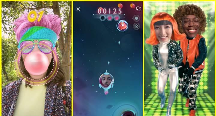 Snapchat, AR desteğiyle yüz filtrelerine oyun ekliyor