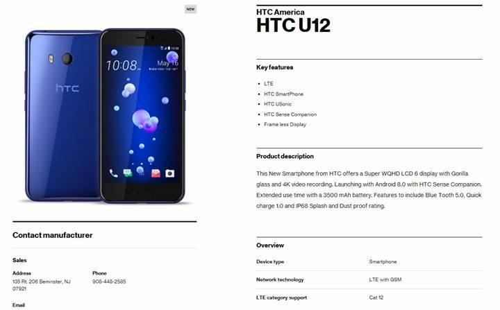 HTC U12, Verizon'un sitesinde listelendi: Çerçevesiz ekran, 3500 mAh pil