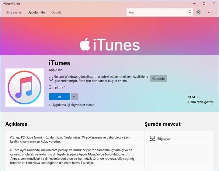 iTunes uygulaması nihayet Microsoft Mağazası'na geldi