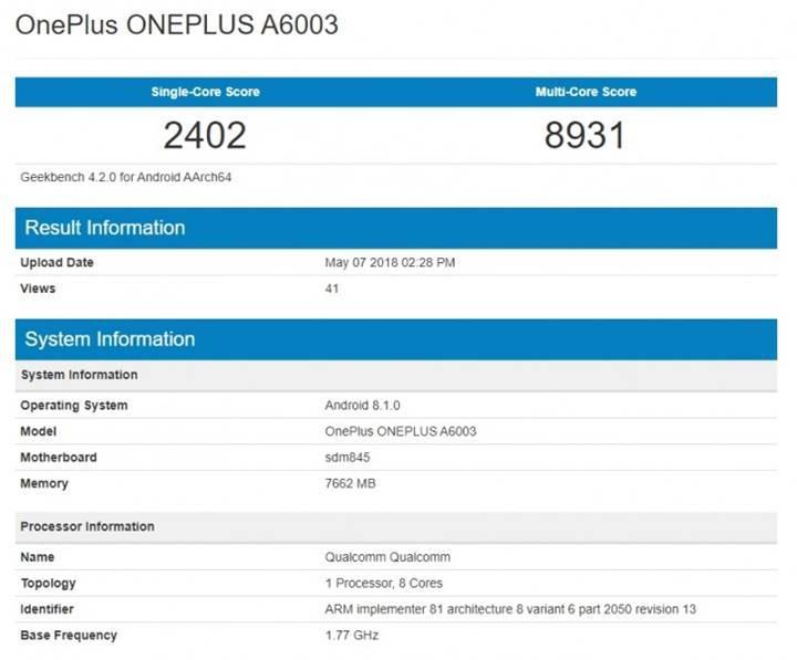 OnePlus 6'nın Geekbench puanı belli oldu